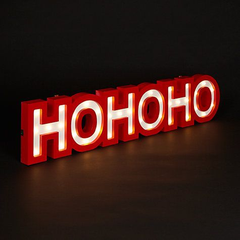 Buy John Lewis Red Hohoho Battery Operated Christmas Lights Sign, Red Online at johnlewis.com