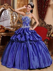Hand Made Flowers Appliques Quinceanera Dress with Ruffles 2014
