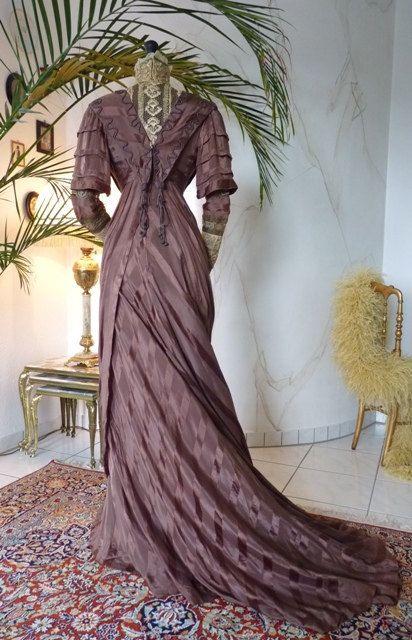 Art Nouveau Brown Silk Dinner Gown Antique Dress by MadameFlorence