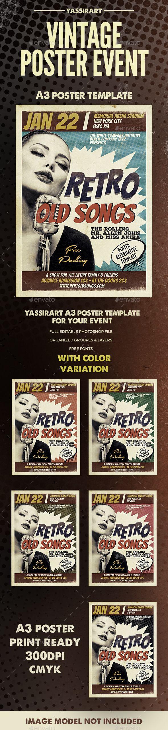 Retro Event Poster A3 Template PSD