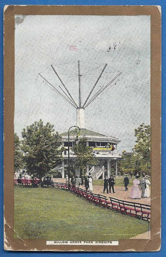 Antique Post card Willow Grove Park Airships by MagpieSue on Etsy