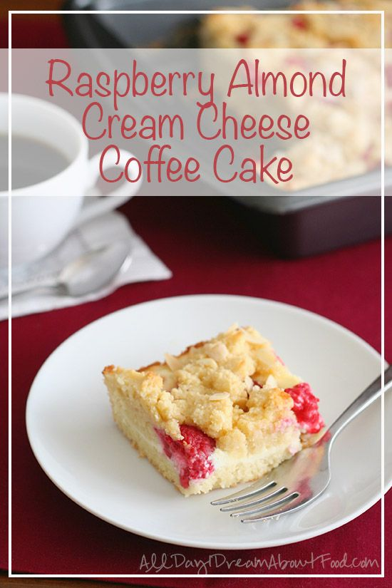 Low carb almond flavored raspberry coffee cake with a ribbon of cream cheese. Sugar free gluten free dessert or snack.