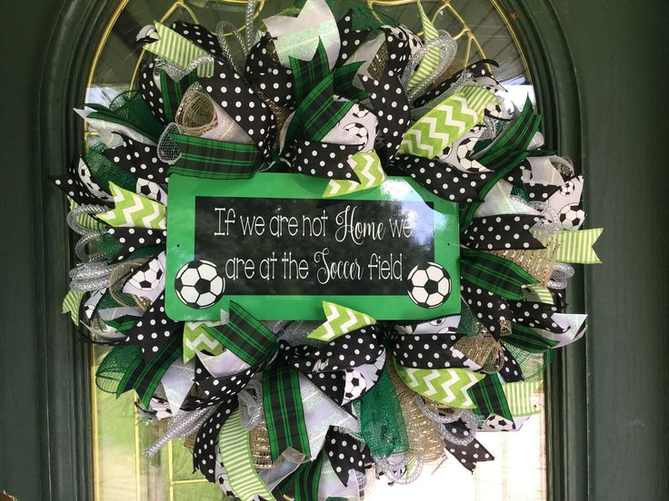 A personal favorite from my Etsy shop https://www.etsy.com/listing/533391050/soccer-deco-mesh-wreath-for-soccer-fans
