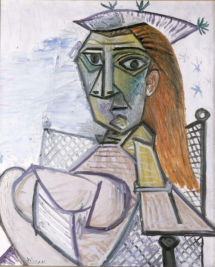 Pablo Picasso  Mujer sentada en un sillón (Femme assise dans un fauteuil), 1941 Óleo sobre lienzo 73 x 60 cm Henie Onstad Kunstsenter, Høvikodden, Noruega © Henie Onstad Art Centre, Norvège/Photo Øystein Thorvaldsen