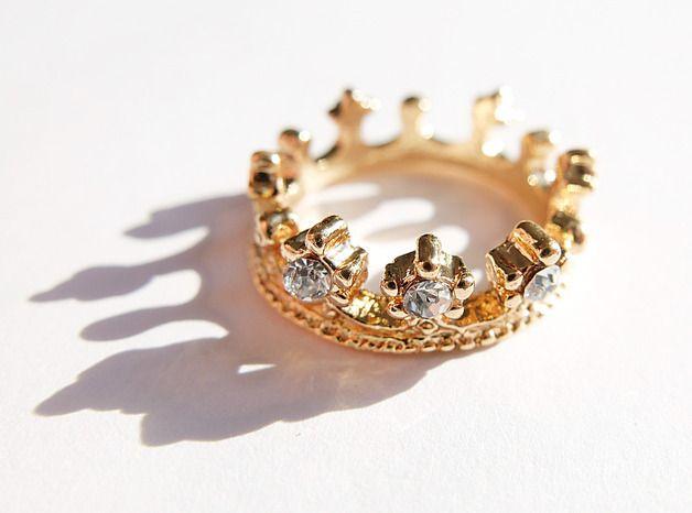 Kronen Krone Ring Love  Gold Ostergeschenk