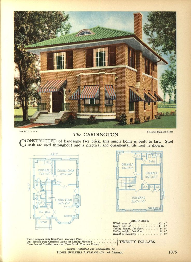The CARDINGTON   Home Builders Catalog: Plans Of All Types Of Small Homes  By Home