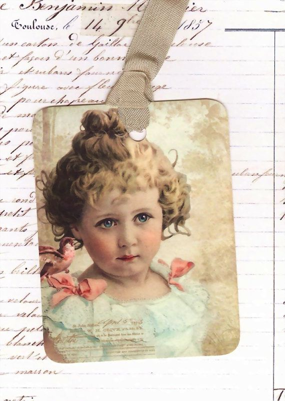 Niña etiquetas de regalo estilo Vintage con Ave suministro
