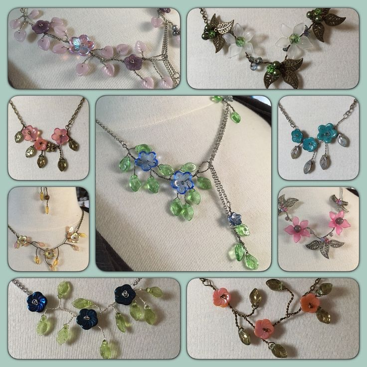 There are hundreds of possible combinations with all the flower and leaves beads I have in stock. If I don't have what you're looking for, you can now order a custom necklace made just for you.