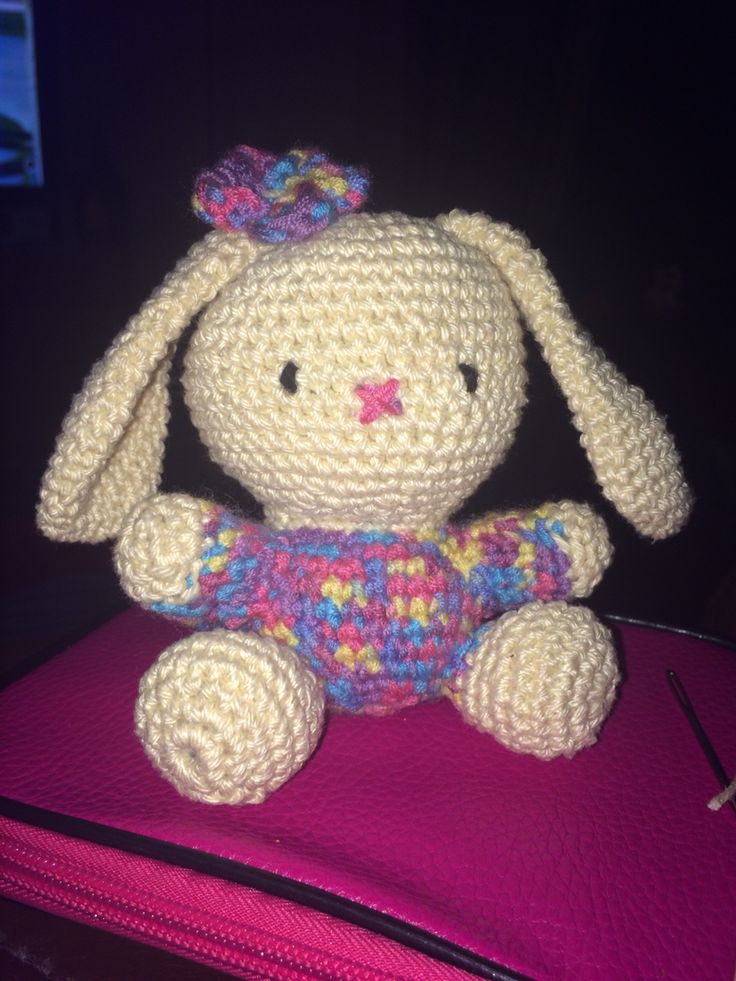 My crochet bunny done by following along with a YouTube video :)