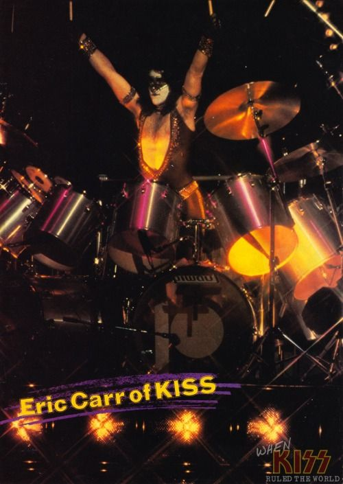"""""""Eric Carr of KISS"""" - Unmasked Tour at the Palladium in New York City [July 25th, 1980] This show was not only the debut of Eric Carr, but it's the only show where """"The Fox"""" wore this particular black/silver make-up in the style of a domino mask. Apparently, Eric makeup design and costume were still being worked on and had actually changed to an entirely different species of animal right before the show! Originally, the new drummer was supposed to be """"The Hawk"""", ..."""