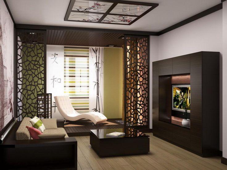 Minimalist Japanese Interor Design In Living Room With Cabinet Tv ...