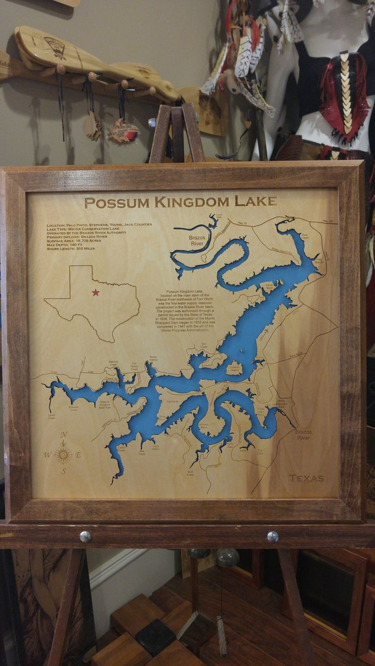 Maryland Map Coordinates%0A Possum Kingdom Lake TX wood laser cut map by PhDs on Etsy