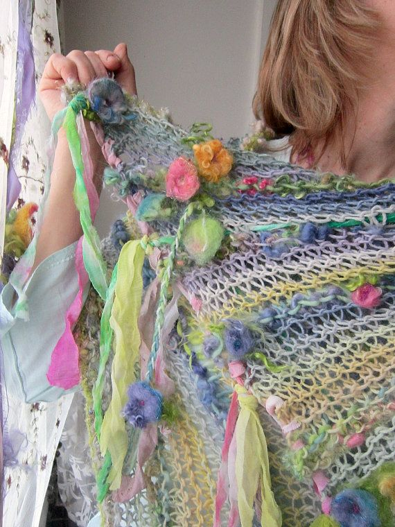 rustic handknit summer wool wrap shawl scarf par beautifulplace, $134.00