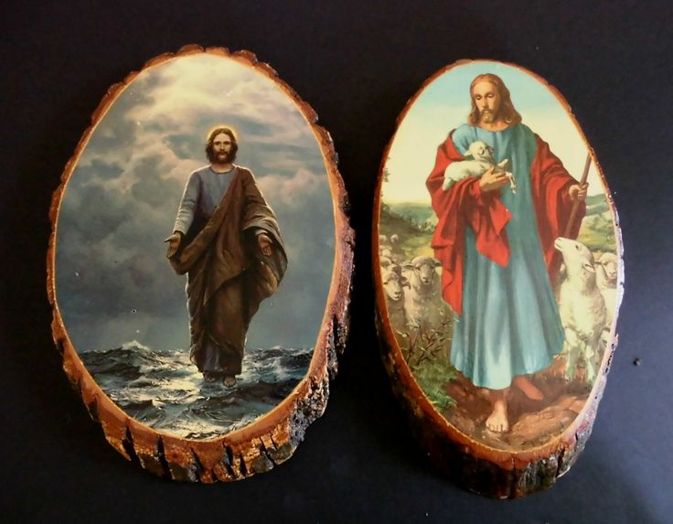 Two Vintage 1950s Wood Wall Religious Picture Plaques of Jesus Walking on Water-Jesus as Good Shepherd USA by flyingdollar on Etsy