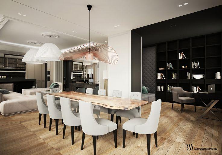 Jadalnia z jasną debową podłogą, drewnianym stołem, lampą La Petite Friture firmy Vertigo i krzesłami minotti Leslie; w tle gabinet. http://bartekwlodarczyk.com/