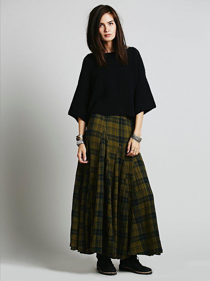 Free People Sienna Plaid Maxi Skirt American Made Flowy