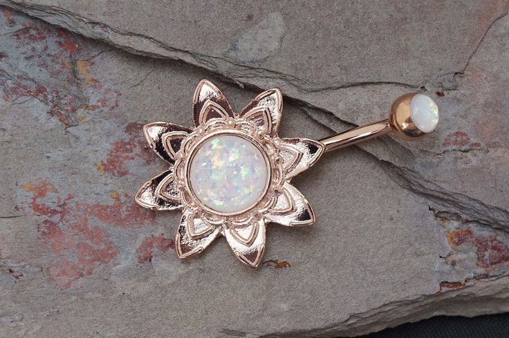 14kt Rose Gold Belly Button Ring Blooming Flower Opal