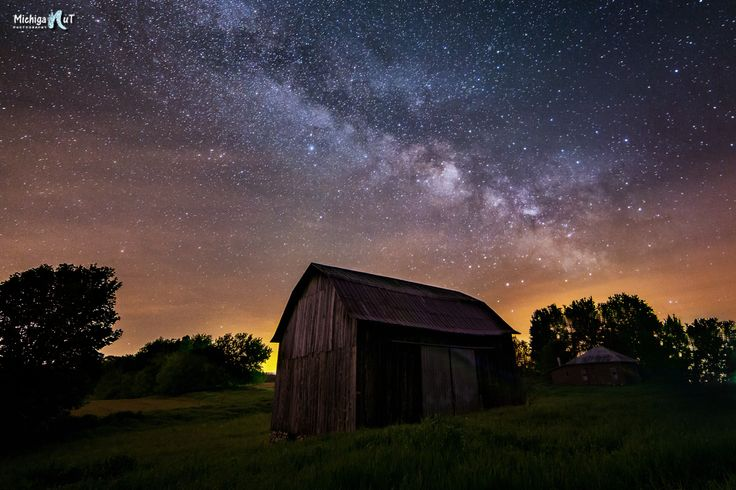 Michigan's Heartland - Stars and Milky Way over an old barn in Montcalm County.