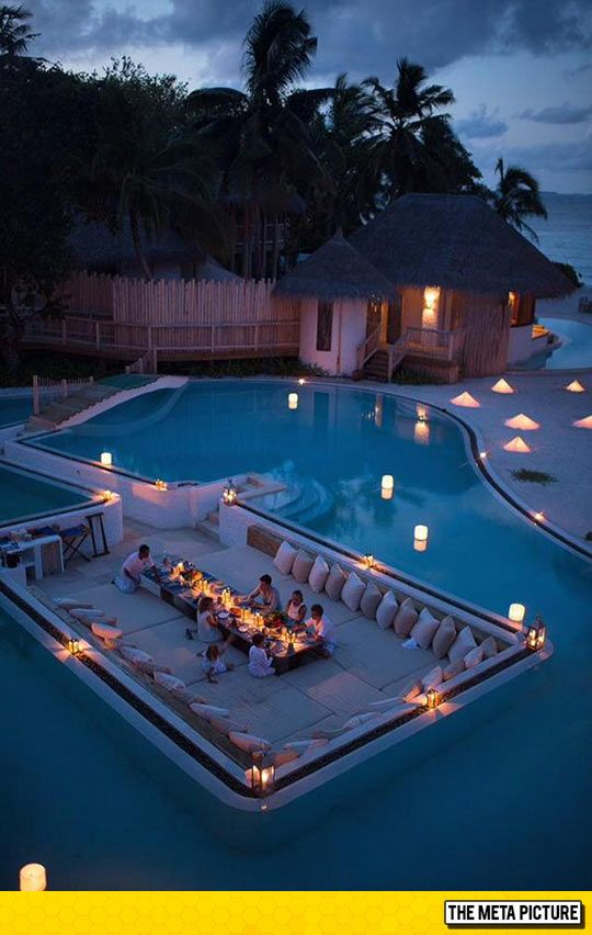 Having Dinner Surrounded By A Swimming Pool LystHouse is the simple way to buy or sell your home. http://www.LystHouse.com to maximize your ROI on your home sale.