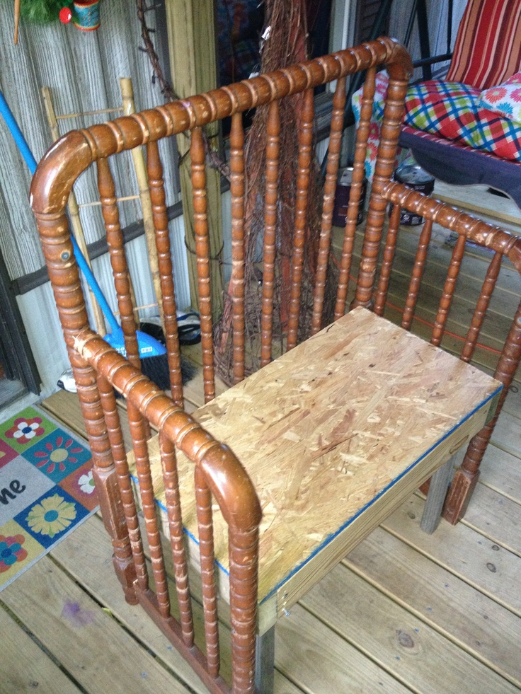 Bench/chair made from old crib bed