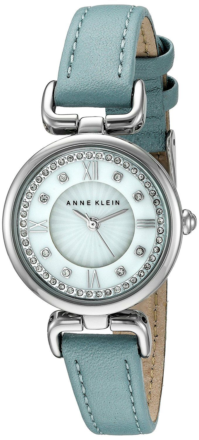 Anne Klein Women's Swarovski Crystal Accented Silver-Tone and Blue Leather  Strap Watch ** Visit the image link more details.