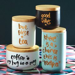 "Kitchen Canister - Short Black ""Coffee: My Hug In A Mug"" Canister"