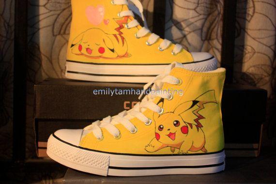 #Pikachu Anime Shoes Pikachu Custom Chuks Hand Paint on Sneakers