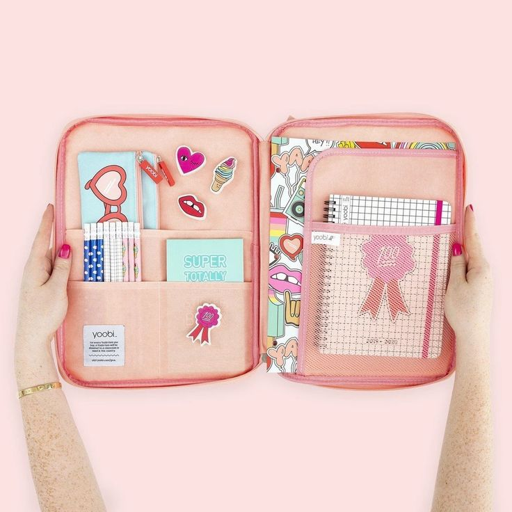 Document Organizer Peach Grid Cute School Supplies