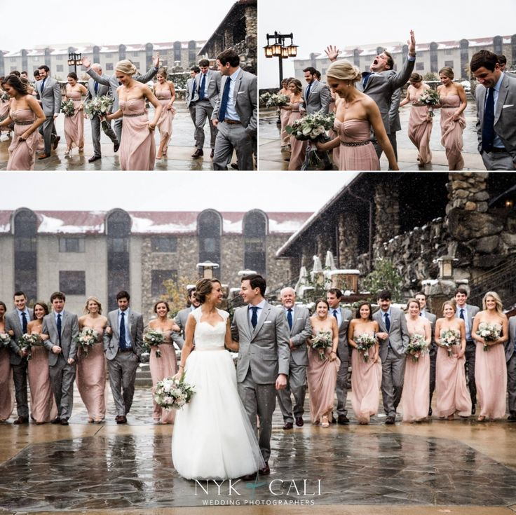 Nyk + Cali Wedding Photographers | Asheville, NC | Grove Park Inn | Wedding Party | Grey + Navy | Blush | Snow | Winter Wedding | Candid | Walking | Bride + Groom |