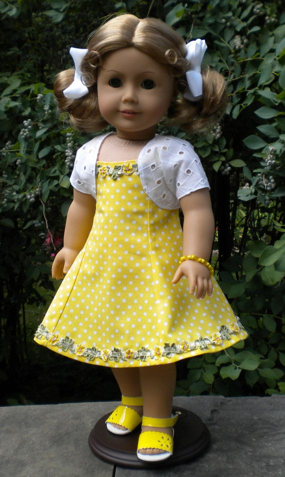 Yellow Sundress Set for American Girl or other by mydollyscloset1. $35.00.