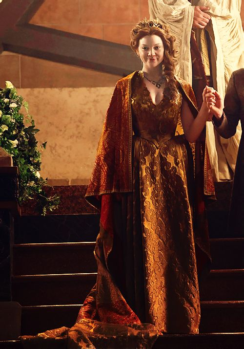 Game of Thrones: Margaery Tyrell Wedding, sumptuous materials with armor over the print on the second gown, more demure and triumphant