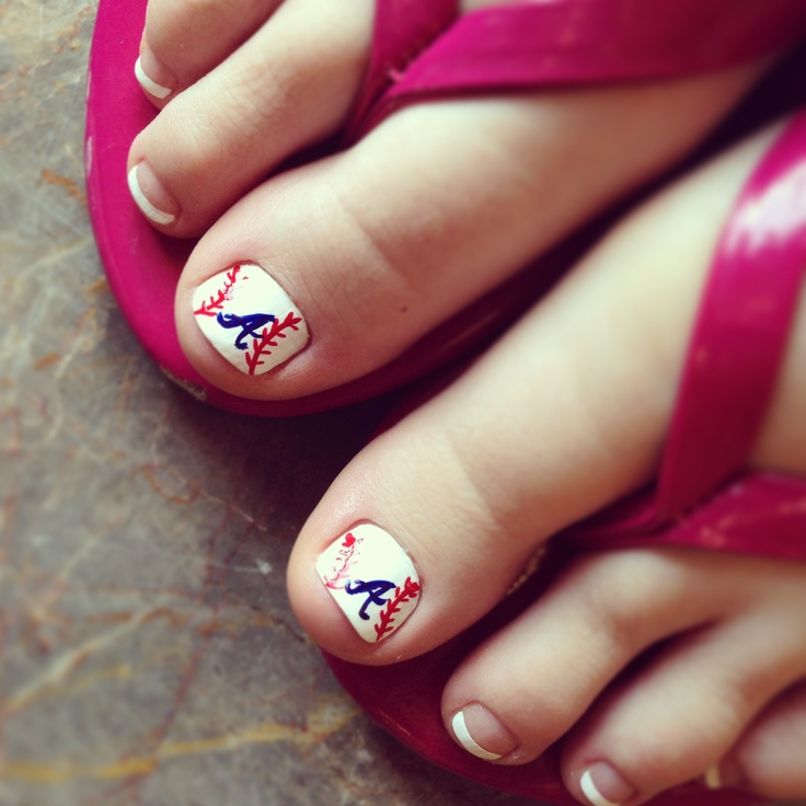 Atlanta braves baseball toes. SO CUTE(: i know a grandmother in law that need this done (: