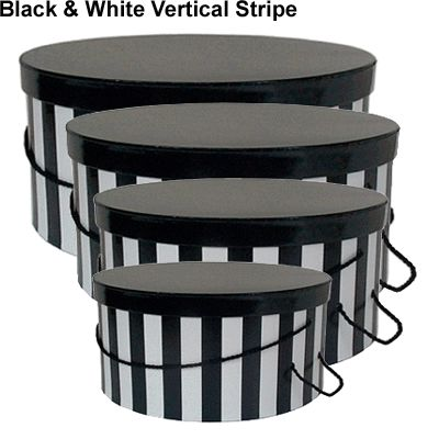 black and white hat boxes with lids | Hat Boxes - Black & White Stripes