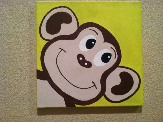 Cute Peekaboo MONKEY ...Handpainted Acrylic Painting on Canvas ...for Kids nursery and/or playroom ...on a 12 x 12 canvas