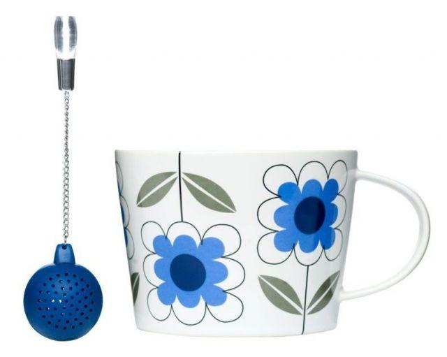 Filiżanka z silikonową zaparzaczką Tea niebieska