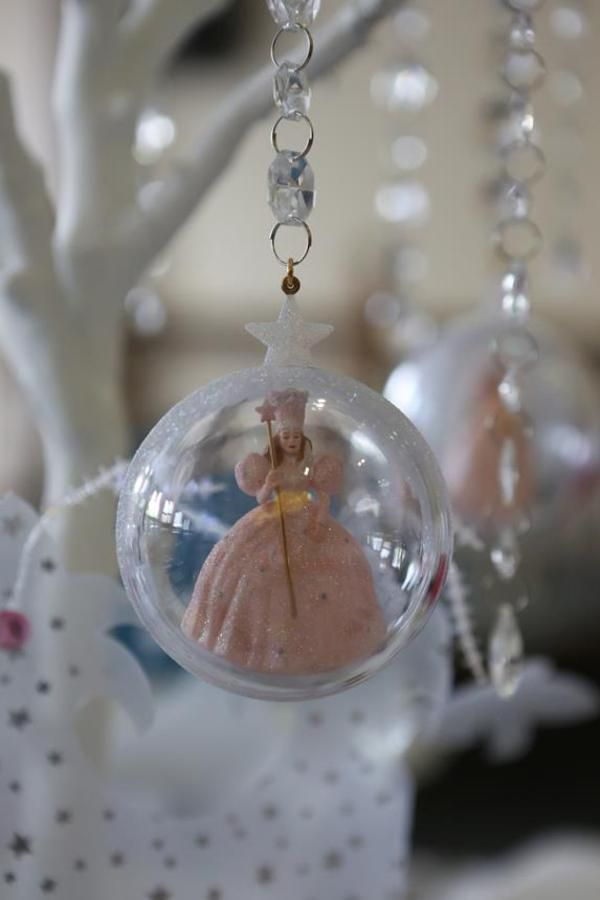 DECOR - paper printouts of glinda rolled up and placed in christmas balls