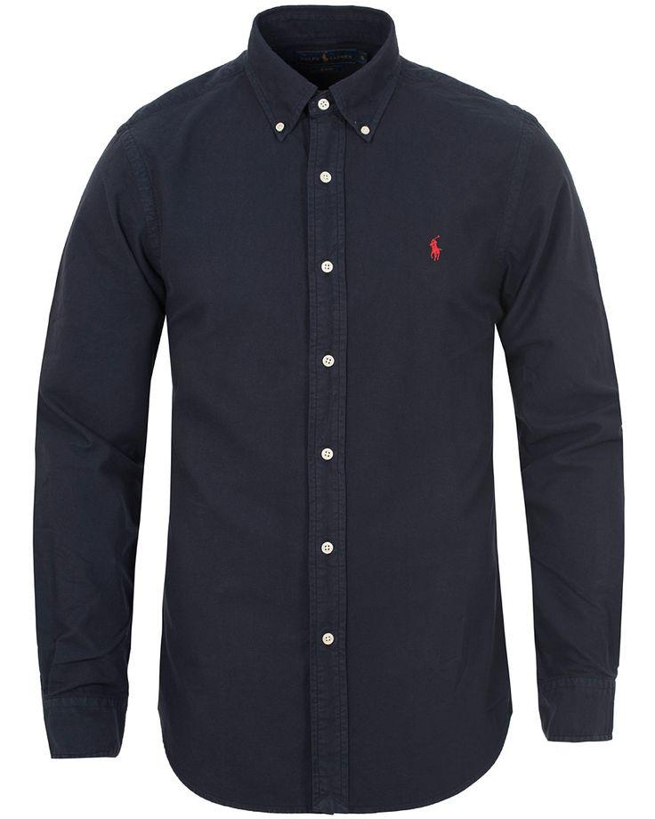 Polo Ralph Lauren Slim Fit Garment Dyed Oxford Shirt Hunter Navy i gruppen Skjortor hos Care of Carl (13195711r)