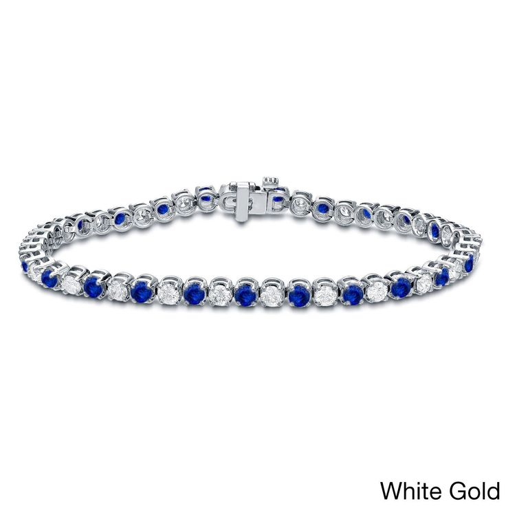 Angara Diamond and Ruby Scooped Link Tennis Bracelet in 14k White Gold w0g1o