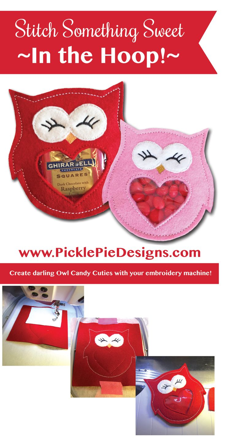 Stitch sweet Valentine treats, right in the hoop of your embroidery machine! 'Owl Always Love You' Candy Cuties embroidery designs are available at www.picklepiedesigns.com.