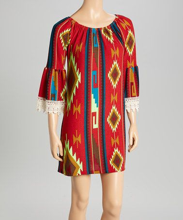 Love this Red & Neon Green Tribal Lace Sleeve-Hem Shift Dress on #zulily! #zulilyfinds