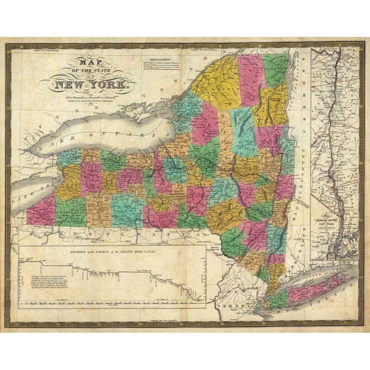 Vintage New York State map features counties outlined on a historical NY map from 1831.