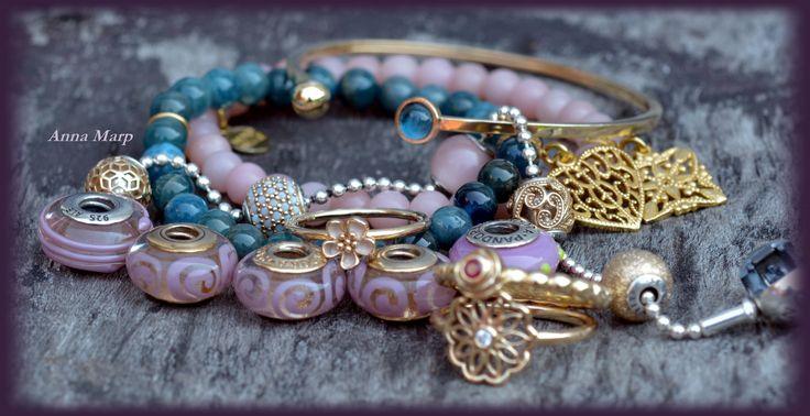 Pandora gold essence and rings MOKOBELLEand gemstones