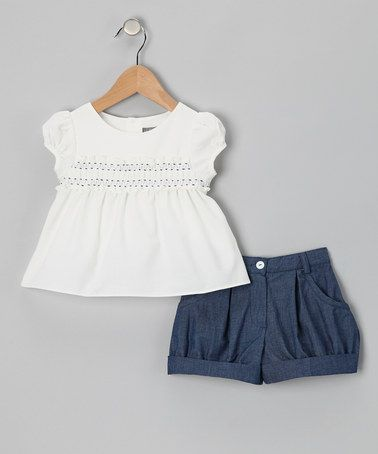 White Shirred Top & Blue Shorts - Infant, Toddler & Girls #zulily #zulilyfinds