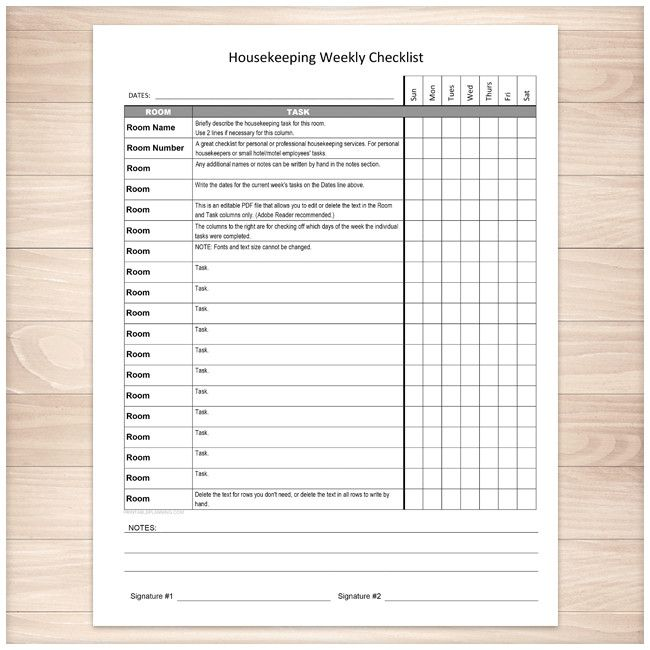Housekeeping Weekly Checklist - Cleaning Services Editable Room and Task List - Printable