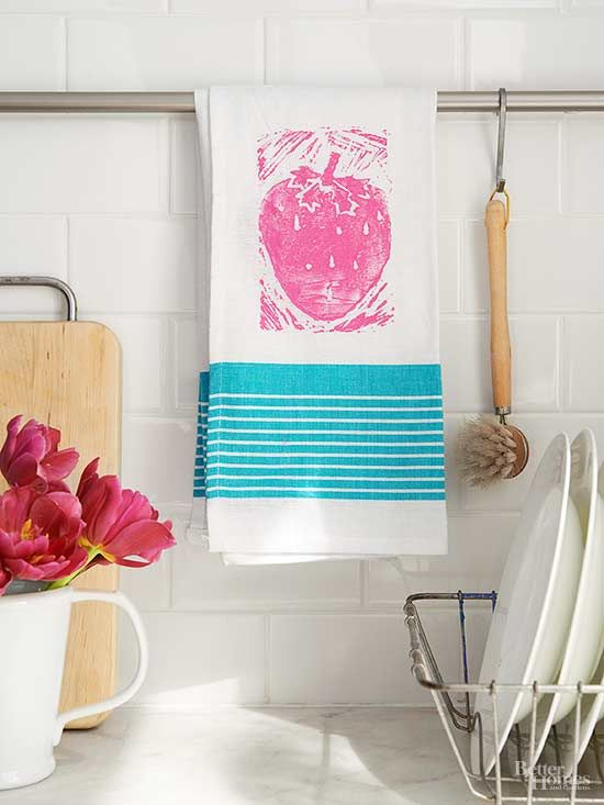 A cotton flour-sack towel gets a sweet strawberry makeover with a block-printed design.
