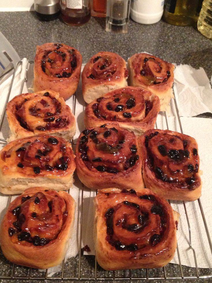 Chelsea buns with orange icing