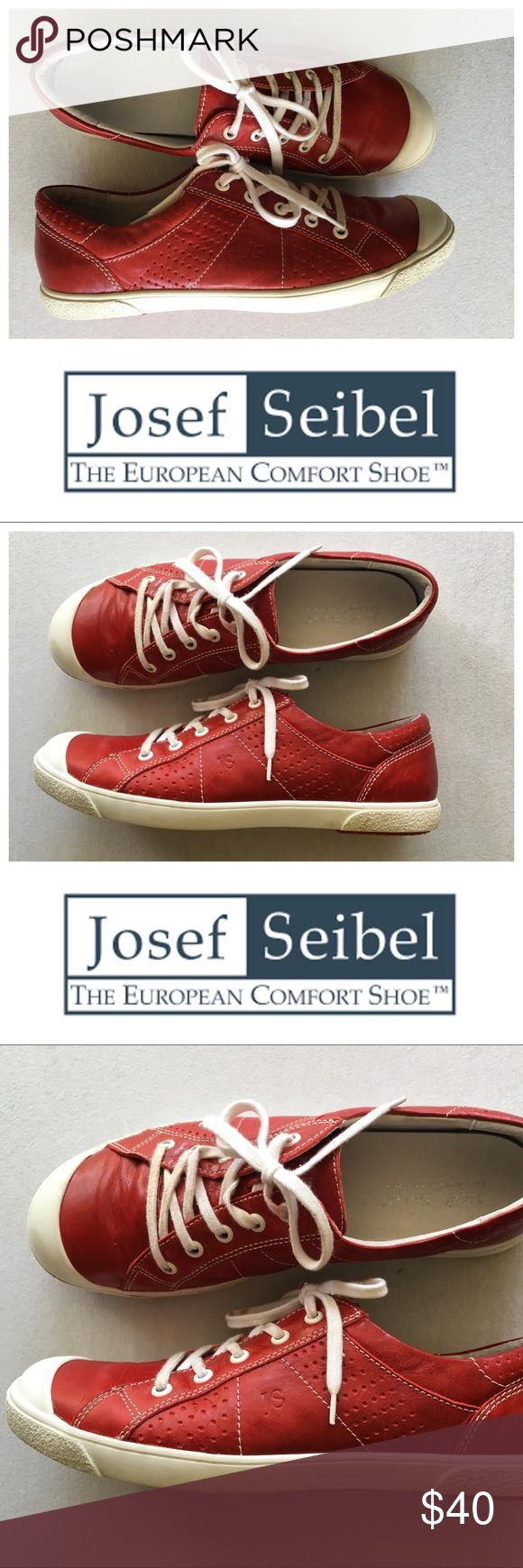 josef seibel lilo 13 red leather sneaker Euro 40 Josef Seibel's Lilo 13 sneakers are made from buttery-smooth leather w/sporty lace-up look & a retro-chic toe bumper for unmatched comfort that doesn't disappoint on style. Shoes are handstitched for increased flexibility, wear & artisan good looks Perforated leather upper w/sporty lace-up style & rubber toe bumper Breathable Airped® removable leather footbed is deeply cushioned for comfort Slip-resistant grooved rubber outsole Very good…