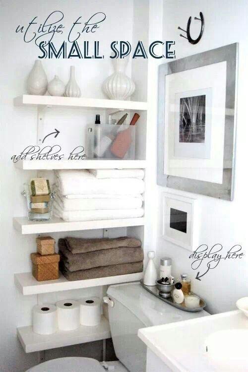 Bathroom storage and decor idea for small bathroom