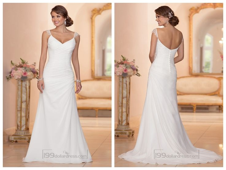 Cap Sleeves Sheath V-neck Ruched Bodice Wedding Dresses