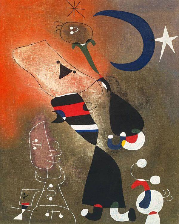 Mulher e Pássaro à Luz da Lua, de Joan Miró A cena do imaginário do pintor sugere uma relação harmoniosa e elementar entre o homem e a natureza. Essa relação, de acordo com a visão do artista, estava desaparecendo no contexto da civilização do seu tempo. Isso é perceptível pela figura feminina, bem como pelas aves, elementos de fundamental importância dentro da obra de Miró.